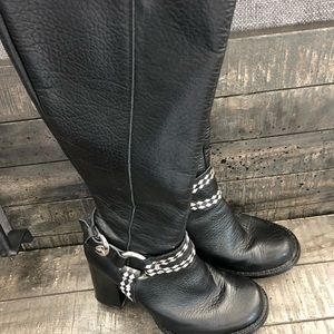 Charles David Black Leather Black White Boots